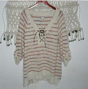 American Rag cream colorful stripe lace up sweater